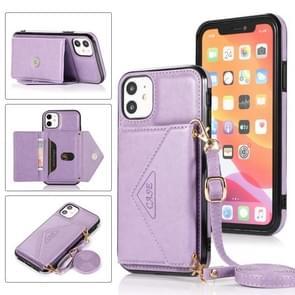 Multifunctionele Cross-body Card Bag TPU+PU Back Cover Case met Holder & Card Slot & Wallet Voor iPhone 11 Pro(Paars)