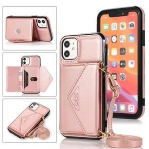 Multifunctionele Cross-body Card Bag TPU+PU Back Cover Case met Holder & Card Slot & Wallet Voor iPhone 11 Pro(Rose Gold)