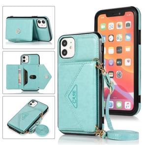 Multifunctionele Cross-body Card Bag TPU+PU Back Cover Case met Holder & Card Slot & Wallet Voor iPhone 11 Pro(Groen)
