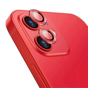 Voor iPhone 12 / 12 mini ENKAY Hat-Prince Aluminium Alloy + Tempered Glass Camera Lens Cover Full Coverage Protector(Rood)