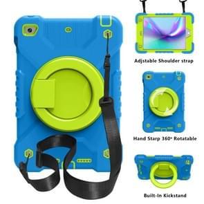 PC + Siliconen schokbestendige combinatie geval met 360 graden roterende houder & handvat & schouderriem voor iPad mini 5 / mini 4 (blauw + groen)