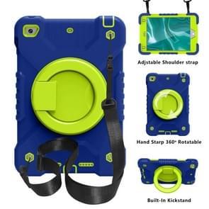 PC + Siliconen schokbestendige combinatie geval met 360 graden roterende houder & handvat & schouderriem voor iPad mini 5 / mini 4 (donkerblauw + groen)