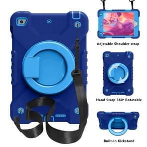 PC + Siliconen schokbestendige combinatie geval met 360 graden roterende houder & handvat & schouderriem voor iPad mini 5 / mini 4 (donkerblauw + blauw)