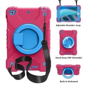 PC + Siliconen schokbestendige combinatie geval met 360 graden roterende houder & handvat & schouderriem voor iPad mini 5 / mini 4 (hot pink + blauw)