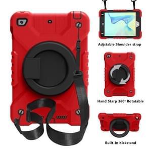 PC + Siliconen schokbestendige combinatie geval met 360 graden roterende houder & handvat & schouderriem voor iPad mini 5 / mini 4 (rood + zwart)