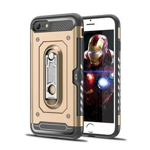 Schokbestendige PC + TPU Case voor iPhone 6 & 6S  met houder (goud)