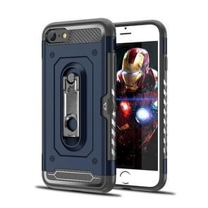 Schokbestendige PC + TPU Case voor iPhone 6 & 6S  met houder (marineblauw)
