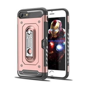 Schokbestendige PC + TPU Case voor iPhone 6 & 6S  met houder (Rose goud kast)