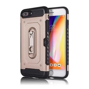 iPhone 7 Plus & 8 Plus schokbestendig TPU + Kunststof back cover Hoesje met 360 graden draaiende houderr (roze goudkleurig)