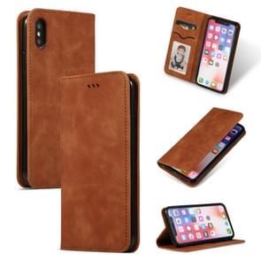 Retro huid voelen Business magnetische horizontale Flip lederen case voor iPhone XS/X (bruin)