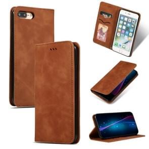 Retro huid voelen Business magnetische horizontale Flip lederen case voor iPhone 8 plus/7 Plus (bruin)