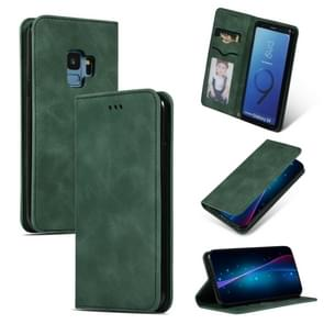 Retro huid voelen Business magnetische horizontale Flip lederen case voor Samsung Galaxy S9 (Army Green)