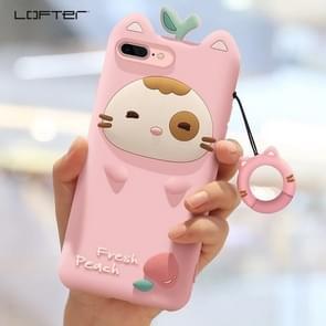 iPhone 7 Plus & 8 Plus Super schattig 3D Fresh Peach stijl Siliconen back cover Hoesje met draagriem (roze)