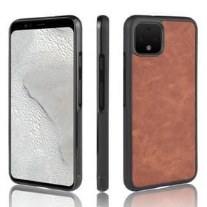 Voor Google pixel 4 schokbestendige schapen skin PC + PU + TPU case (bruin)