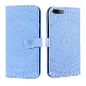 iPhone 7 Plus & 8 Plus horizontaal 3D fractal bloemen patroon PU leren Flip Hoesje met houder  draagriem en opbergruimte voor pinpassen & geld (blauw)