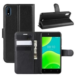 Voor Wiko Sunny 4/Y50 Litchi textuur horizontale Flip lederen draagtas met portemonnee & houder & kaartsleuven (zwart)