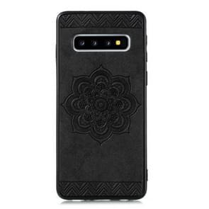 Voor Galaxy S10 Rose Mandala patroon PC + TPU + PU telefoon geval (zwart)