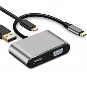USB C naar HDMI VGA 4K-adapter 4-in-1 Type C-adapterhub naar HDMI VGA USB 3.0 Digital AV Multiport Adapter met USB-C PD-oplaadpoort compatibel voor Nintendo Switch/Samsung/MacBook(Grijs)