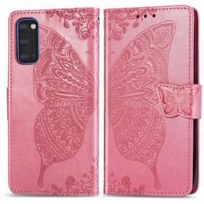 Voor Galaxy S20 Butterfly Love Flower Embossed Horizontale Flip Lederen Case met Beugel / Card Slot / Wallet / Lanyard (Roze)