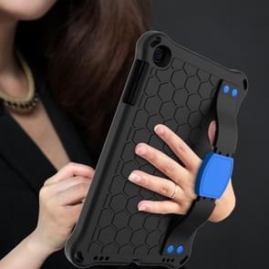 Voor iPad mini 5 / 4 / 3 / 2 /1 Honeycomb Design EVA + PC Four Corner Anti Falling Flat Protective Shell With Straps (Black+Blue)