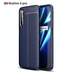 Voor OPPO Realme 6 Pro Litchi Texture TPU Shockproof Case(Navy Blue)