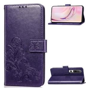 Voor Xiaomi 10 Vierbladige gesp in reliëf gesp mobiele telefoon bescherming lederen case met Lanyard & Card Slot & Wallet & Bracket Functie(Paars)
