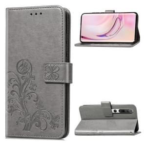 Voor Xiaomi 10 Vierbladige gesp in reliëf gesp mobiele telefoon bescherming lederen case met Lanyard & Card Slot & Wallet & Bracket Functie(Grijs)