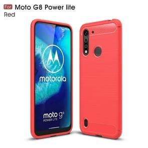Voor Motorola Moto G8 Power Lite Geborsteld textuur Carbon Fiber TPU Case (Rood)