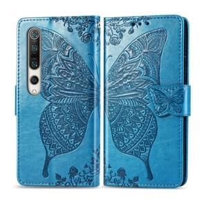 Voor Xiaomi 10 Butterfly Love Flower Embossed Horizontale Flip Lederen Case met beugel / kaartslot / Portemonnee / Lanyard(Blauw)