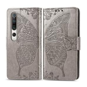 Voor Xiaomi 10 Butterfly Love Flower Embossed Horizontale Flip Lederen Case met beugel / kaartslot / Portemonnee / Lanyard(Grijs)