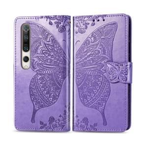 Voor Xiaomi 10 Butterfly Love Flower Embossed Horizontale Flip Lederen Case met beugel / kaartslot / Portemonnee / Lanyard (Licht Paars)