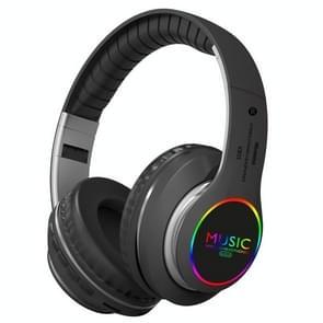 VJ033 Multifunctionele upgrade Bluetooth 5.0 Headset Stereo Draadloze LED-microfoon FM Radio Headset (Grijs)