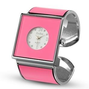 Vierkante grote wijzerplaat armband quartz horloge voor vrouwen (roze)