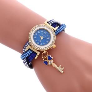 FULAIDA 3 stuks dames hangslot Multicolor armband quartz horloge met diamant (blauw)