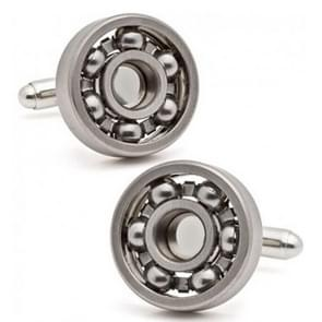 1 Pair Ball Bearing Cufflinks Functional Rotatable Diversity of Mechanic Vintage Metal Color Bearing Design Cuff Links