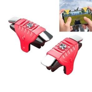 2 paren F01 Electroplating Mechanische As Bidirectional Button Extra Shooting Game Handle voor mobiele telefoons binnen de dikte van 6.1-12.0mm (Rood)