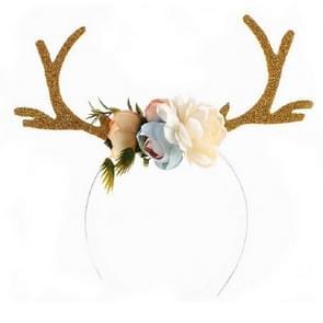 Kerst geweien oor hoofdband Decoratie accessoires (kaki)