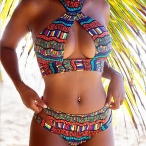2 stuks sexy vrouwen kleuren print bikini set push-up gewatteerde beha badmode  maat: S (stijl eerste)