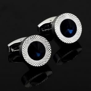high-end fashion Round Blue Crystal men shirts Cufflinks(Silver )