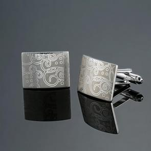 1 Pair Stainless Steel Old Craftsman Hand Laser Engraving Cufflinks(sliver)