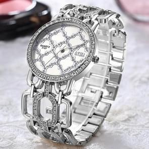 O. T. Sea S-2157 Triple-hole hekwerk stalen band quartz horloge (zilver)