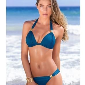 2 stuks 2 in 1 Sexy grote badpak Push Up Bikini vrouwen badmode strand Bikini vrouwelijke badpak zwemmen badpak  grootte: L(Dark blue)
