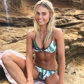 2 PC's Sexy vrouwen spalken push-up riem Print Thong Bikini Set Beachwear  Size:S(Green)