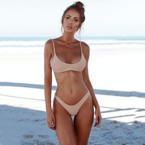 Sexy Brazilian Bikini Solid badmode lage taille Thong Beach Wear  Size:S(Pink)