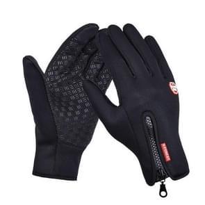 Buitensport wandelen winter lederen zachte warme fiets handschoenen voor mannen vrouwen  maat: M (zwart)