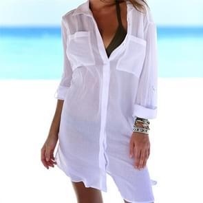 2 PC's strand cover-up Robe Pocket badpak cover-up Sarong strand Shirt Tops badpak vrouwen Beachwear Pareo tuniek  grootte: één Size(White)