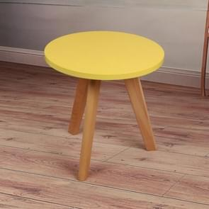 Small Apartment Small furniture Creative Leisure Solid Wood Balcony Coffee Tea Round Table  Size:Diameter: 40cm Height: 45cm(Yellow)