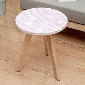 Small Apartment Small furniture Creative Leisure Solid Wood Balcony Coffee Tea Round Table  Size:Diameter: 60cm Height: 55cm(Floral Prints)