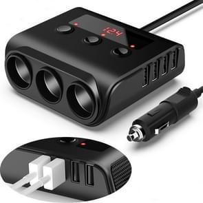 TR12 100W auto aansteker een sleep drie met switch voltage display 4USB auto sigaret lighteri