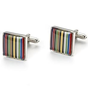 1 Pair Rainbow stripes Shirt Cufflinks(SILVER)